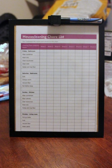Framed To-Do (Chore) Chart
